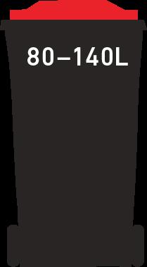 Red bin 80-140 litre